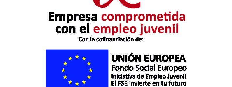 Cartel empresa comprometida con el empleo juvenil ministerio nuevo